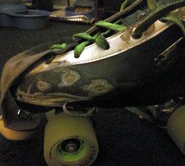 Patch up a pair of derby skates (before)