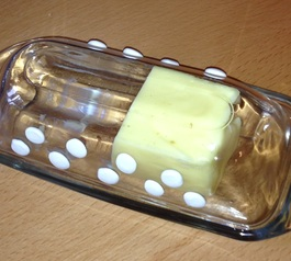 Add grips to a glass butter dish
