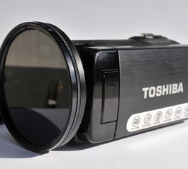 Add a stepping ring to a Toshiba camcorder (before)