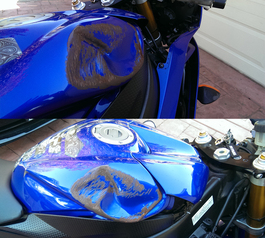 Patch the side of a motorcycle (before)
