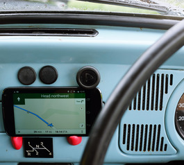 Make a dashboard phone holder for a vintage VW Beetle