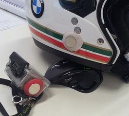 Make a magnetic GoPro mount on your helmet (before)