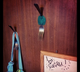 Make awesome hooks from cutlery and sugru