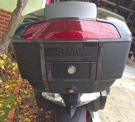 Attach a fog tail light to a BMW top box (before)