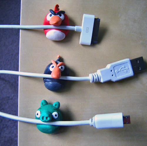 Make Angry Birds cable holders