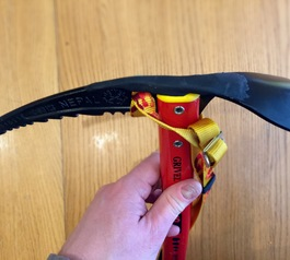 Add a grippy handle to your ice axe (before)