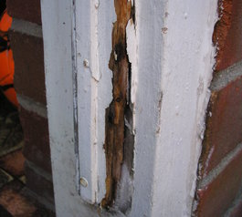 Repair a wooden door frame (before)