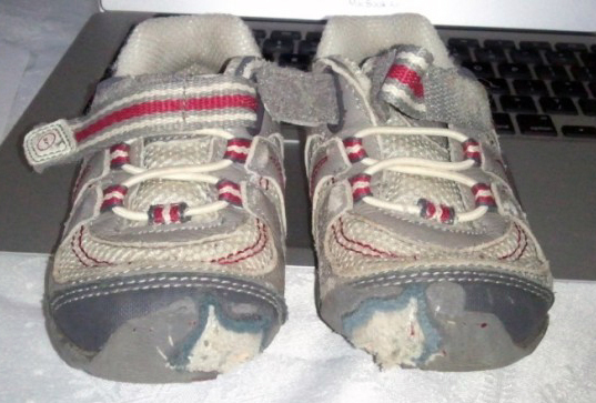 Patch up the toes of kids shoes