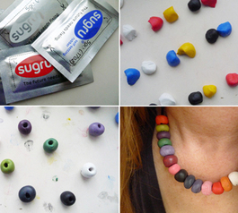 Make multicoloured jewellery beads
