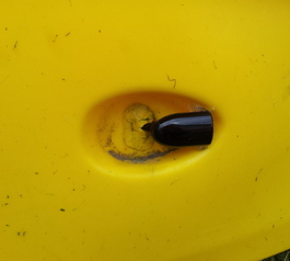 Seal a fishfinder transducer on a kayak (after)