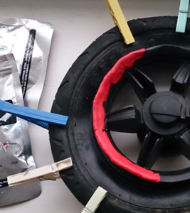 fix the rim on a plastic pushchair wheel