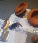 Repair chipped terracotta pots / lids — Step 2