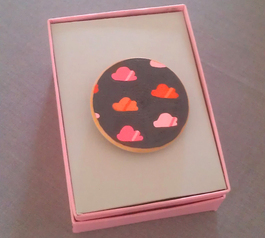 Cloud pattern brooch made with Sugru in a box