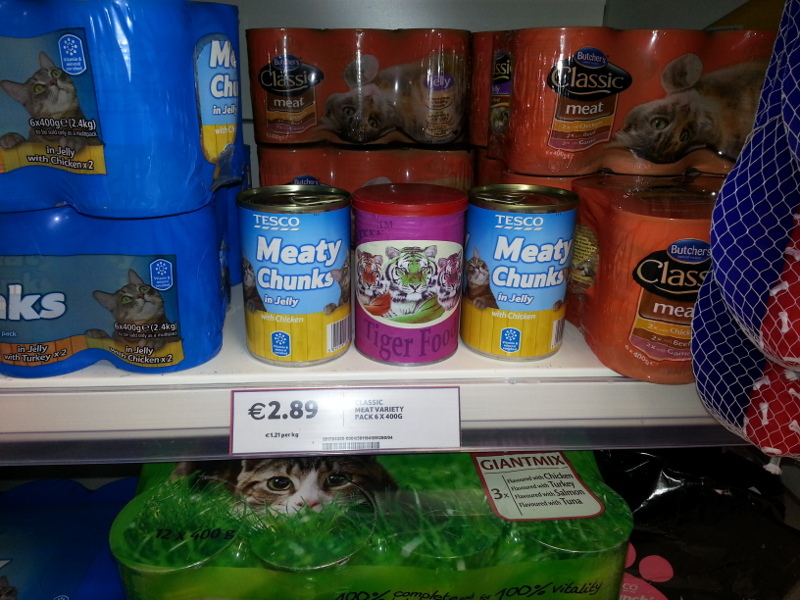 Cat food on a shelf