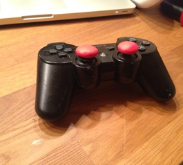 PS3 controller with Sugru thumbsticks
