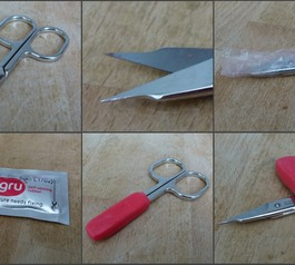 Seperate images of scissors, Sugru, and cling film