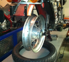 Protect the inner tube of a motorbike's wheel (before)