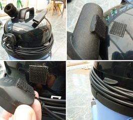 Add velcro mounts to your vacuum cleaner