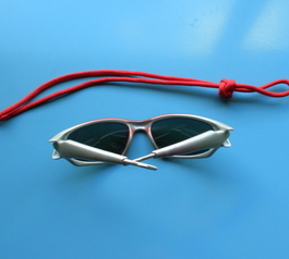 Attach a paracord to your sunglasses (before)