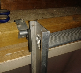 Protect sharp edges on a loft ladder (before)