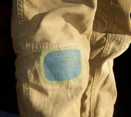 Patch worn-through trousers
