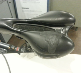 Patch a hole on a bicycle seat