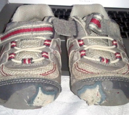 Patch up the toes of kids shoes (before)