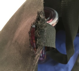 Fix a torn strap on your bag with Sugru (before)