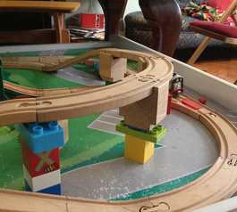 Combine sugru, LEGO and train tracks