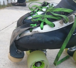 Patch up a pair of derby skates (after)