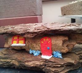 Make a decorative wooden fairy home (after)