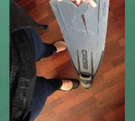 Fix a fractured freediving fin (before)