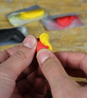 Different colours of Sugru being mixed together