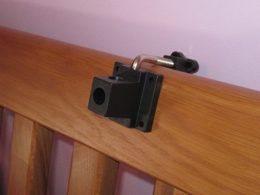 lamp stand clamp attached to bed