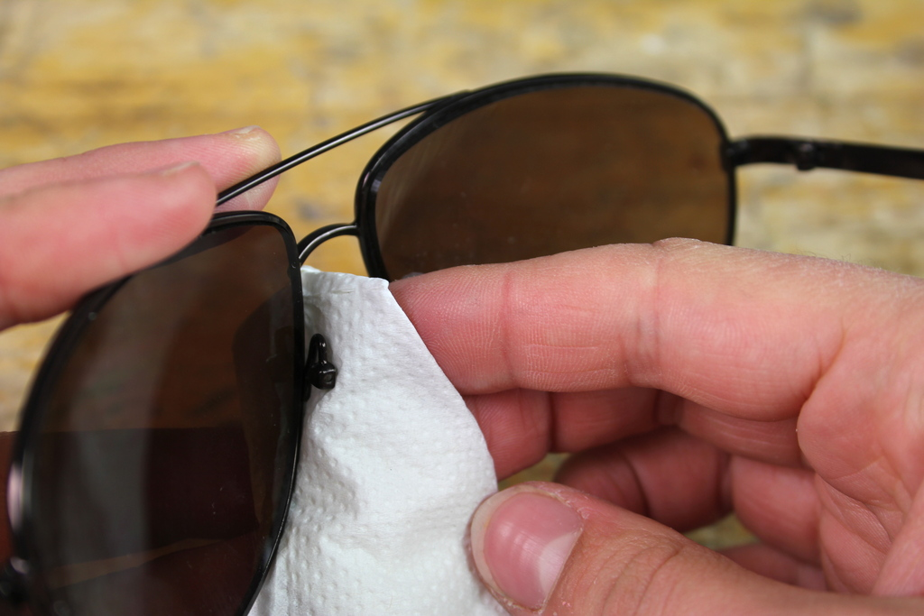 Sunglasses cleaned with toilet paper