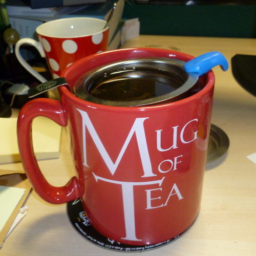 Mug with strainer and Sugru hook