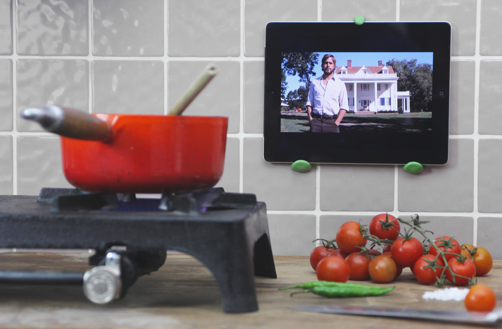 iPad being held by Sugru on kitchen wall