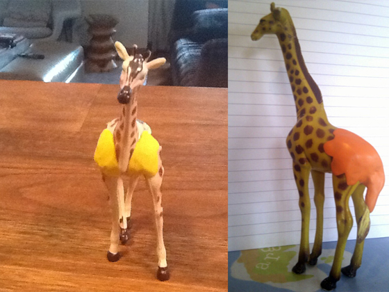 toy giraffes fixed with sugru