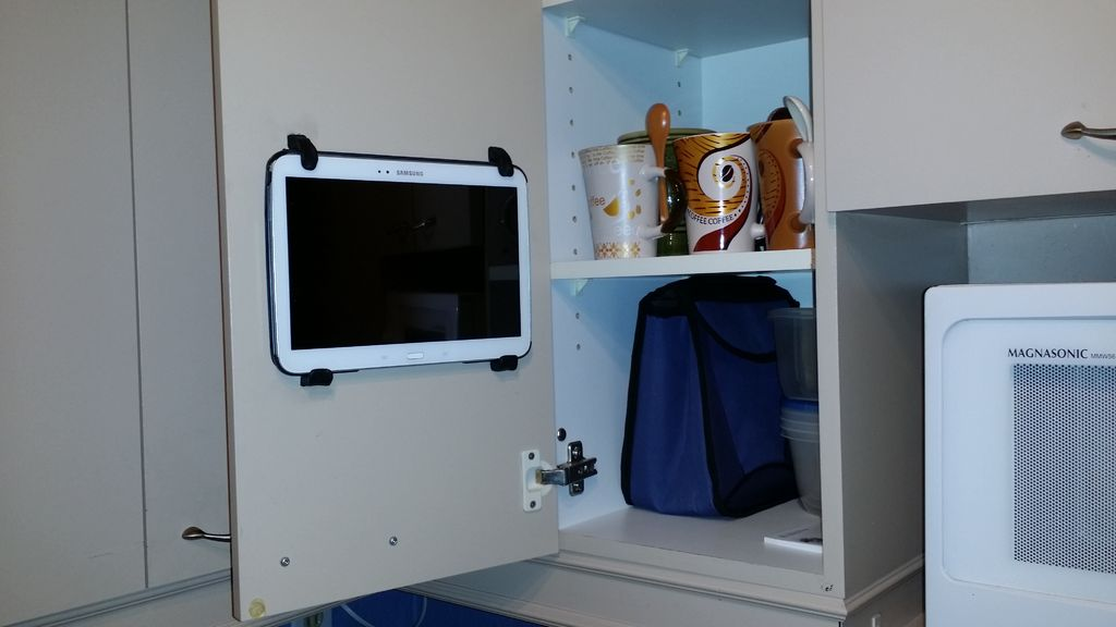Mount Your Tablet On The Inside Of Your Cupboard