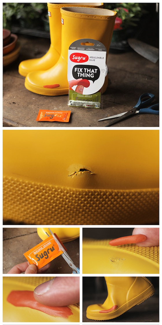 Create a Rubber Boot Patch to Repair Rain Boots | Sugru